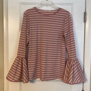 Fitted Tee with Bell Sleeves